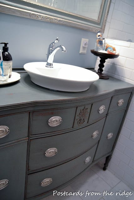 painted bathroom cabinets roundup top view of buffet turned vanity in gray