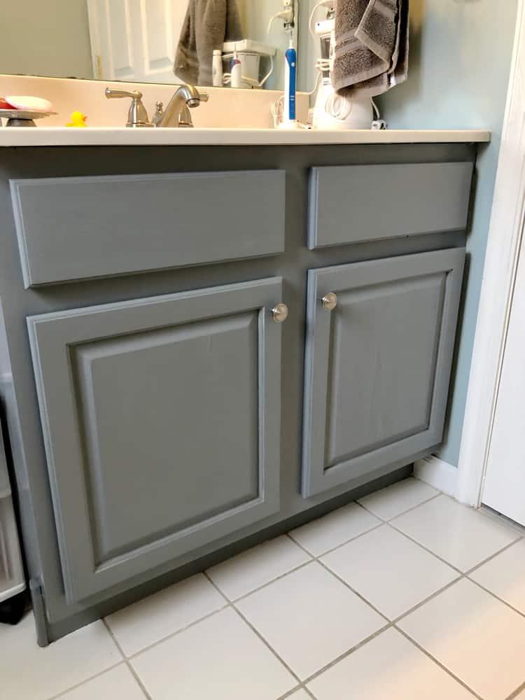 gray bathroom vanity closeup