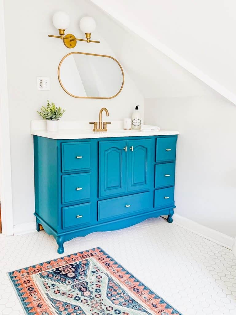painted bathroom cabinets roundup teal painted vanity with gold hardware and mirror