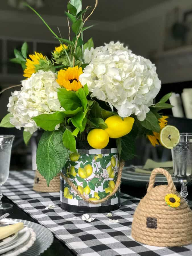 tuesday turn about august finds centerpiece with lemons and hydrangeas in diy bucket