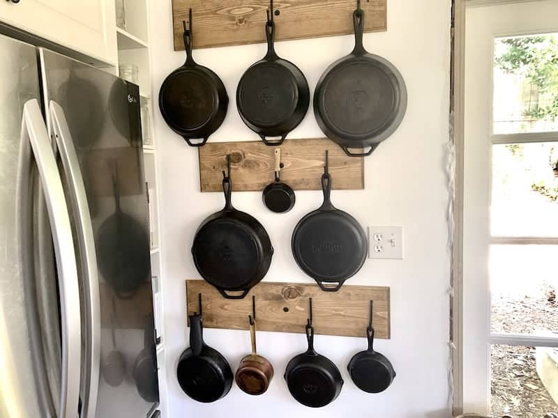 tuesday turn about easy projects skillets on wooden racks