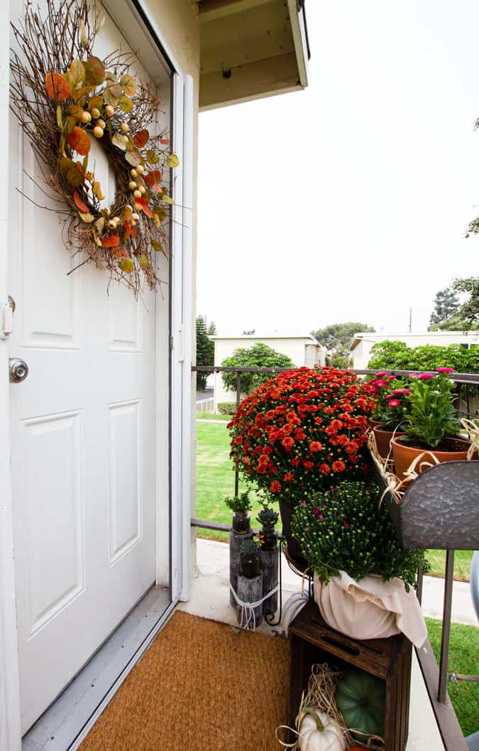 tiny patio landing with fall plants flowers and decor elements