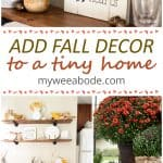 collage of fall decor in a small home