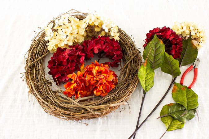 diy fall hydrangea wreath supplies