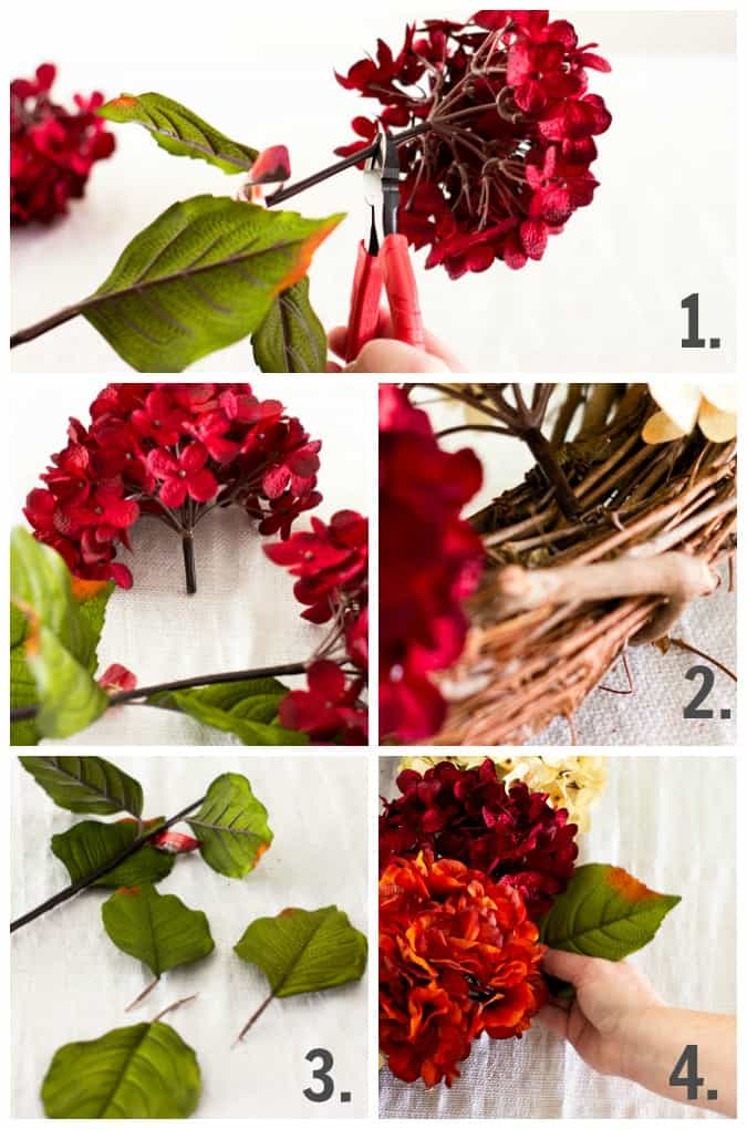 steps for making a diy fall hydrangea wreath