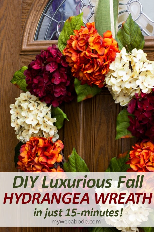 diy fall hydrangea wreath on front door