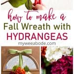 diy fall hydrangea wreath on front door with hand cutting hydrangea head