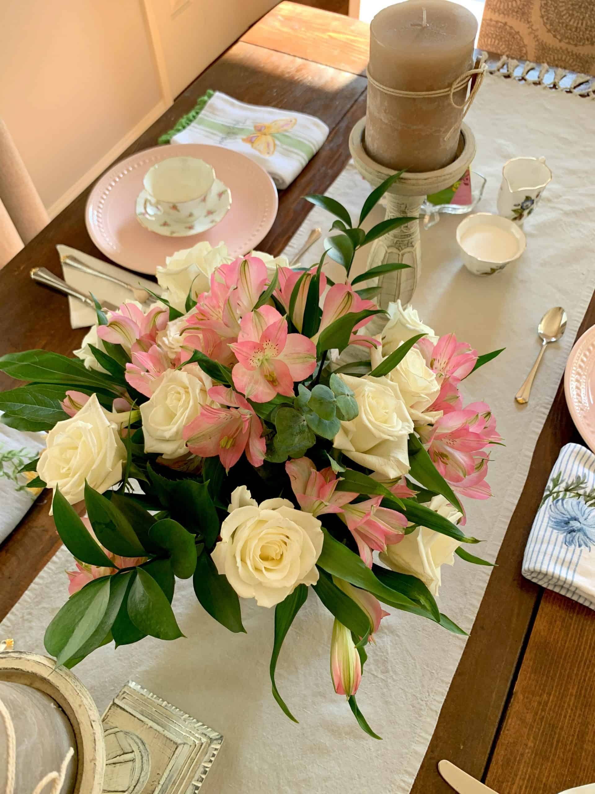 tuesday turn about 66 fall finds tablescape with pink and white florals