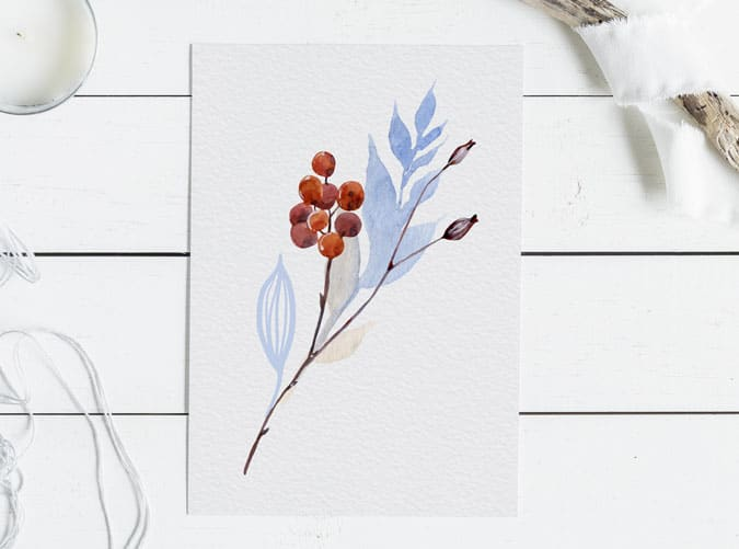 minimalist fall watercolor printables on wood surface