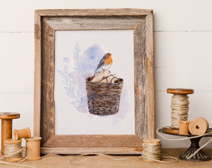 printable with robin sitting on a basket of wood
