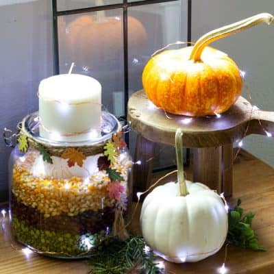 Autumn Candle Holder with Twinkle Lights