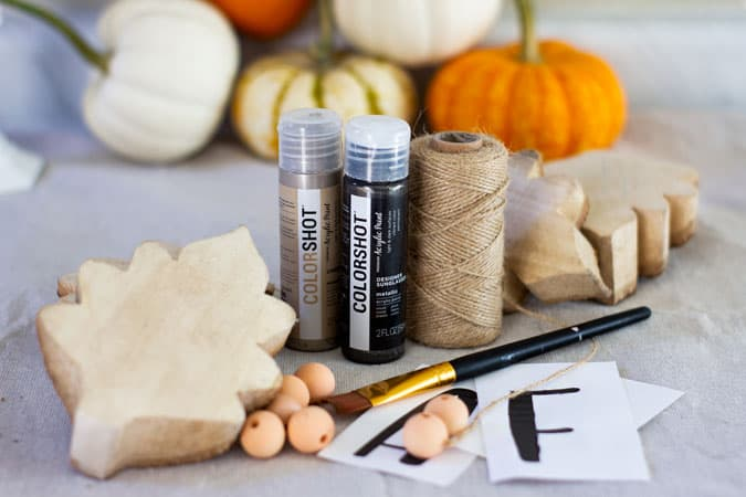 materials needed for fall wood leaf garland