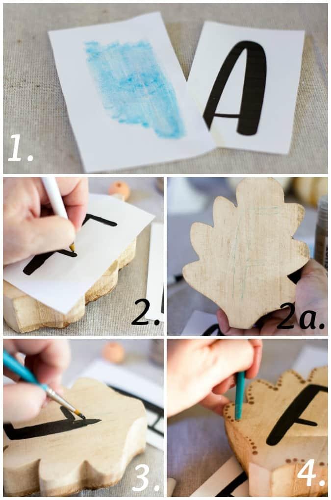 steps for creating a DIY fall wood leaf garland