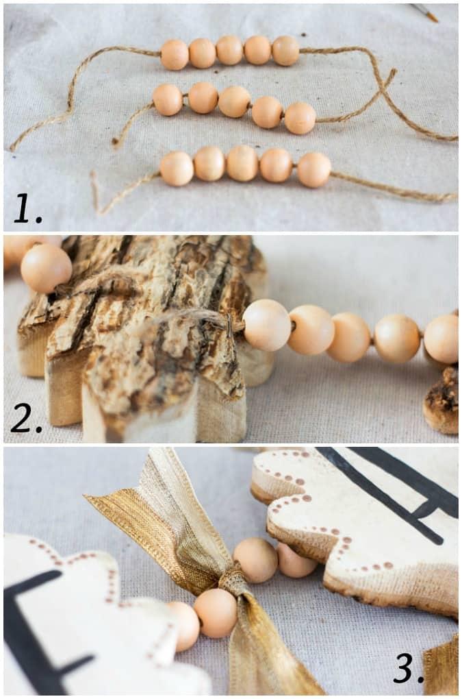fall wood leaf garland steps for creating a DIY fall wood leaf garland