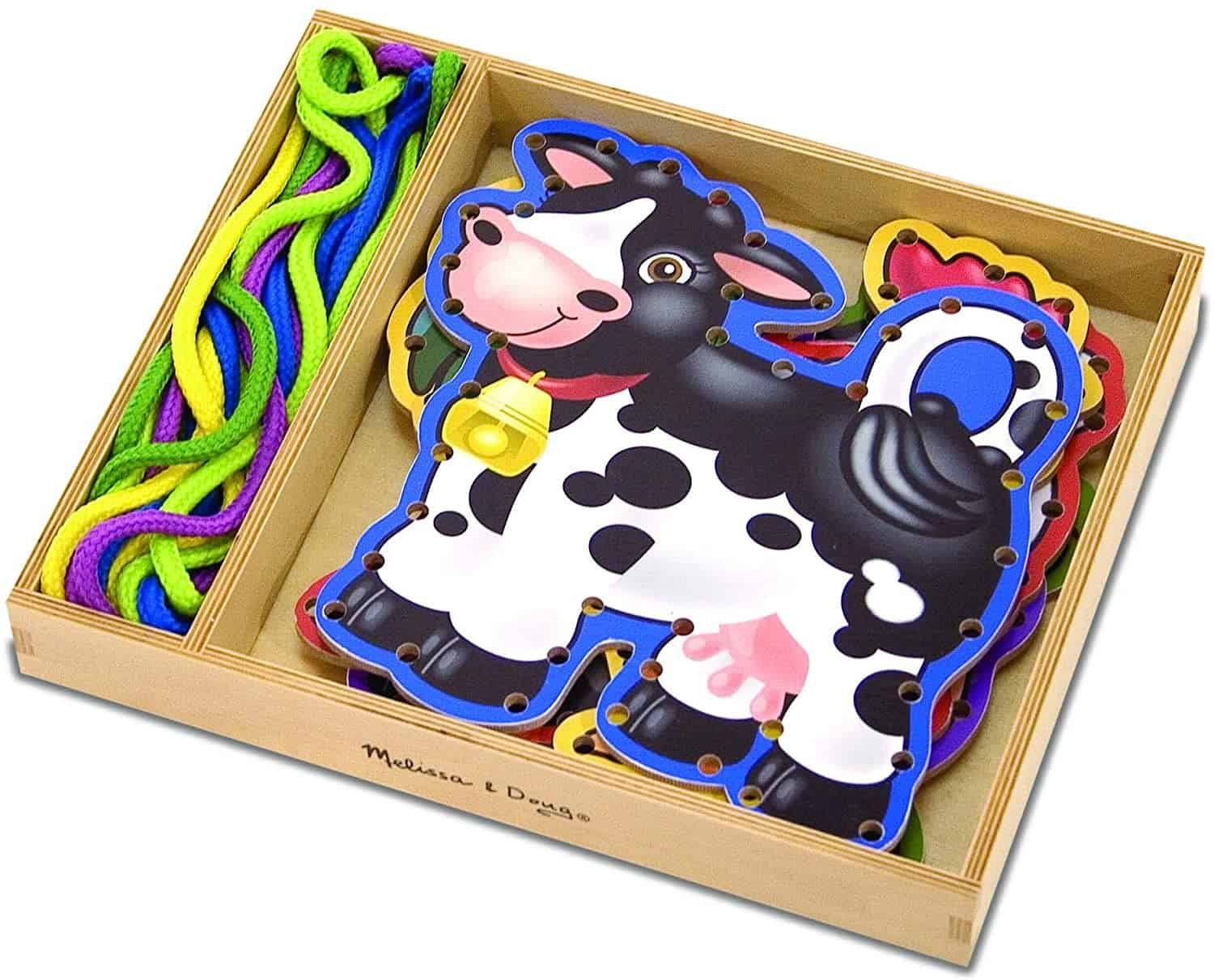 lacing cards in cow shape
