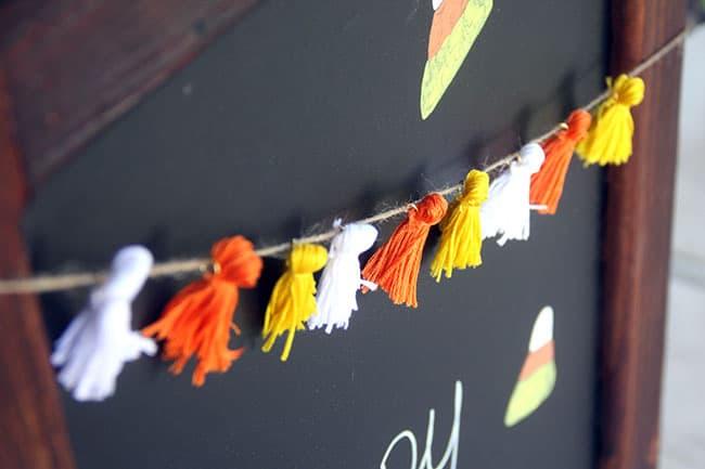 tuesday turn about 69 autumn diys candy corn tassel garland on chalkboard