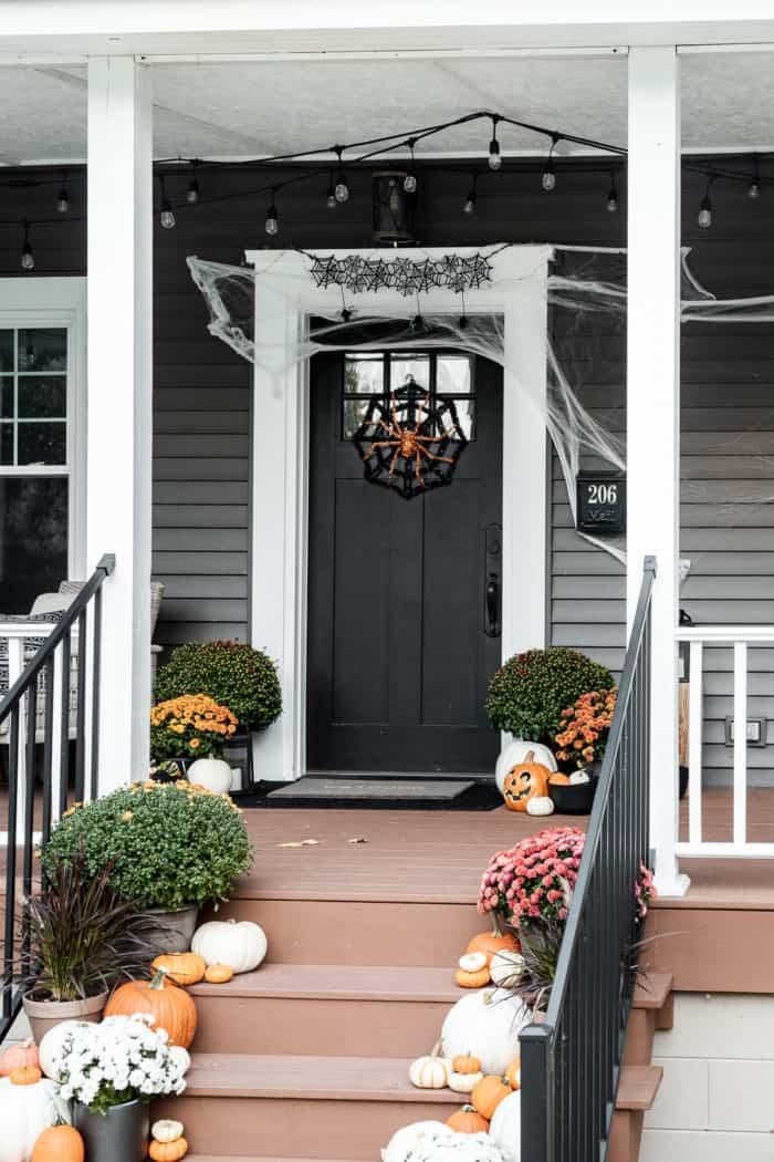 halloween porch in orange black and white
