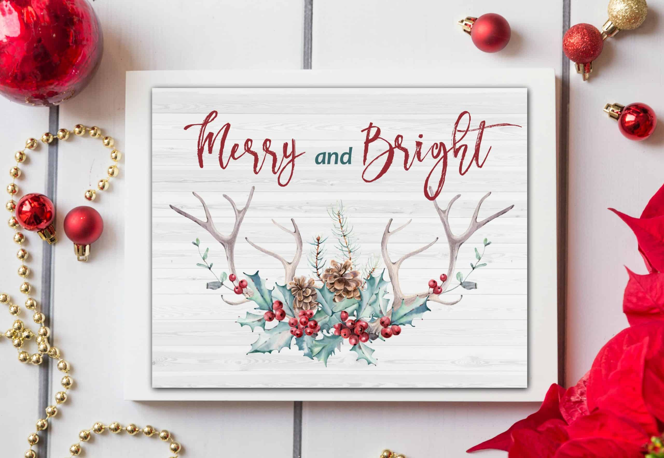 merry and bright christmas printable in white frame and red ribbon