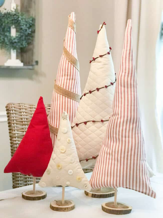 stuffed fabric christmas trees on dining table
