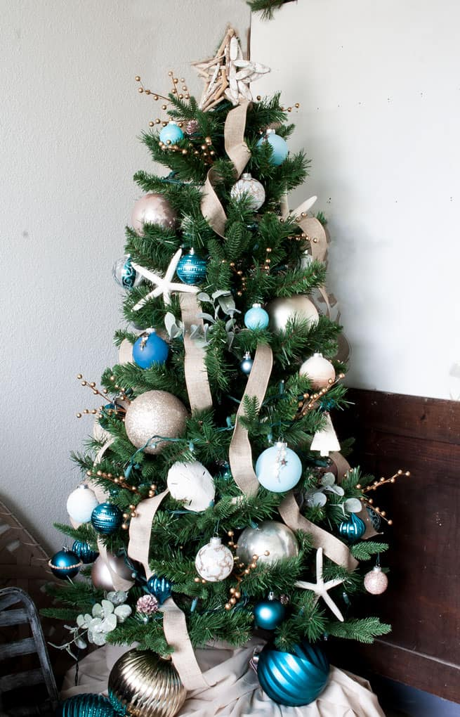 christmas decor and diy ideas coastal style tiny christmas tree in aqua and rose gold