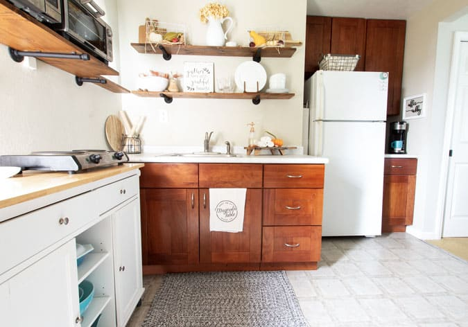 fall coffee cubby apartment kitchen with open shelving and fall decor