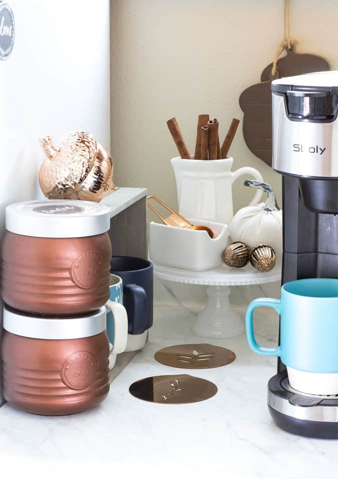 coffee station items on a small counter top
