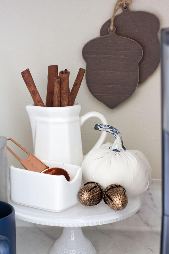 fall coffee cubby with coffee items