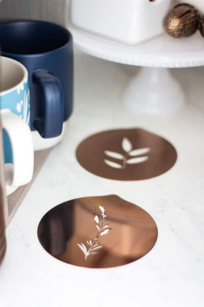 fall coffee cubby with coffee art coasters