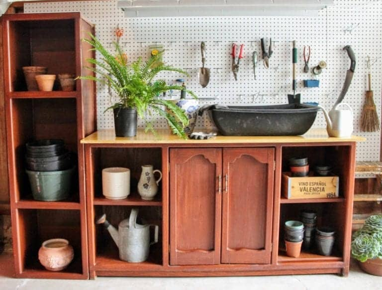 tuesday turn about wood diys entertainment center turned potting bench
