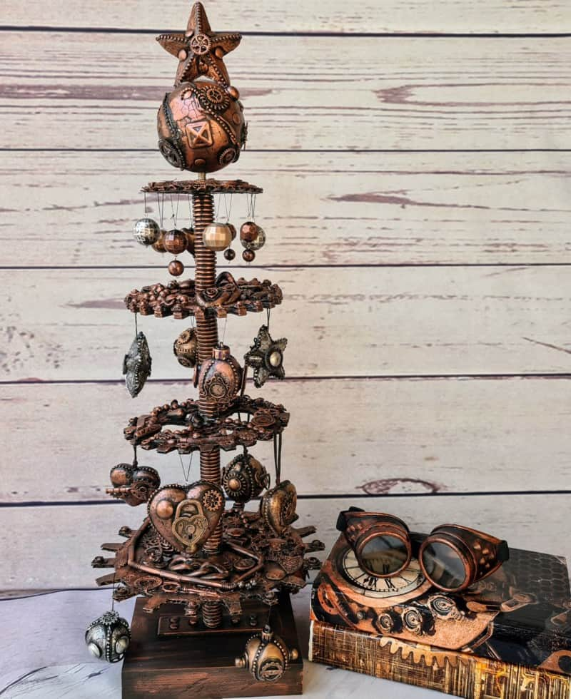 steampunk christmas tree with wood background