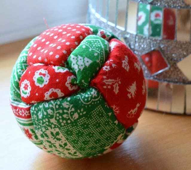 tuesday turn about 77 unique christmas decor quilted ornament in red and green