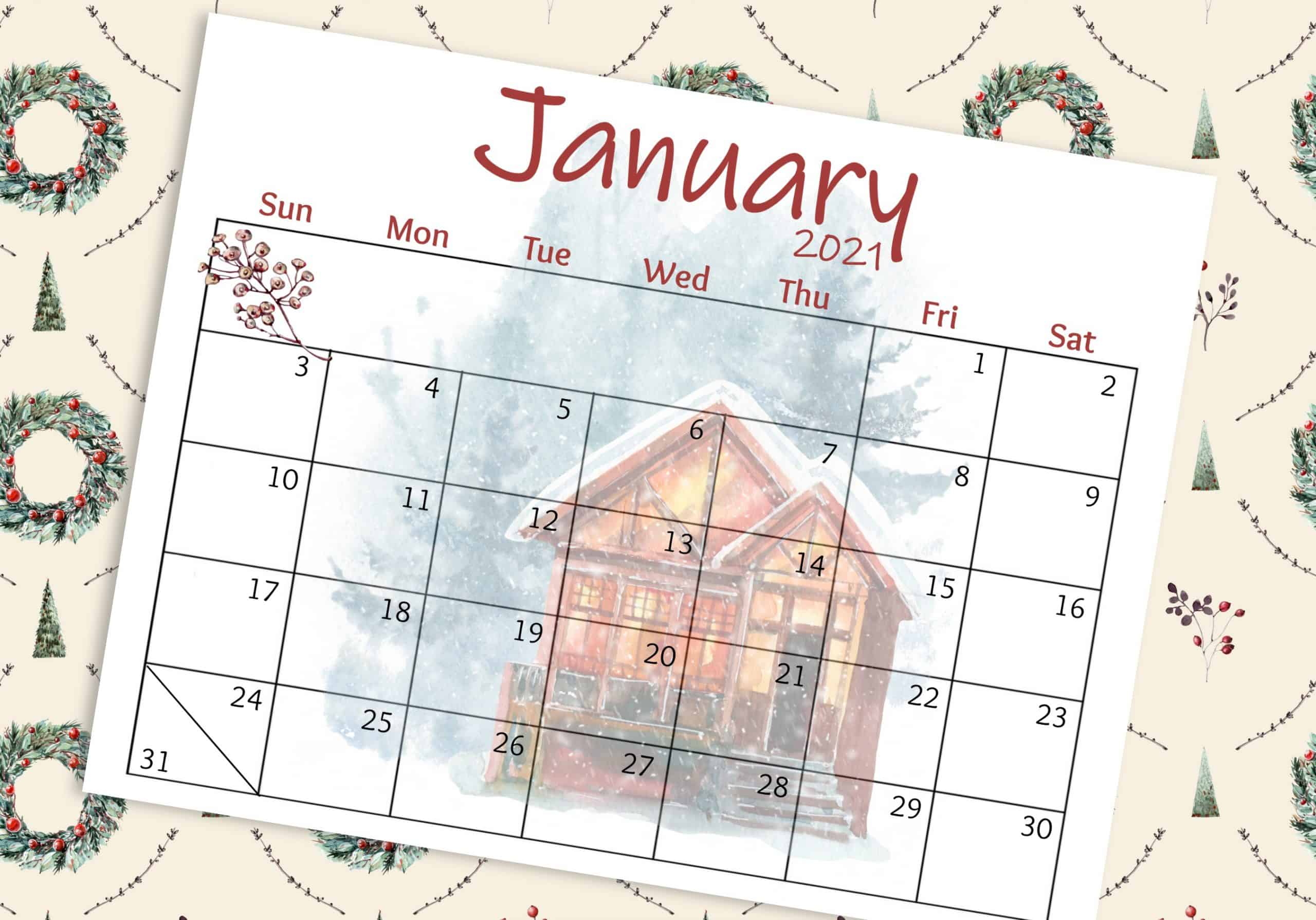 free 2021 watercolor wall calendar janaury with cozy winter home graphics