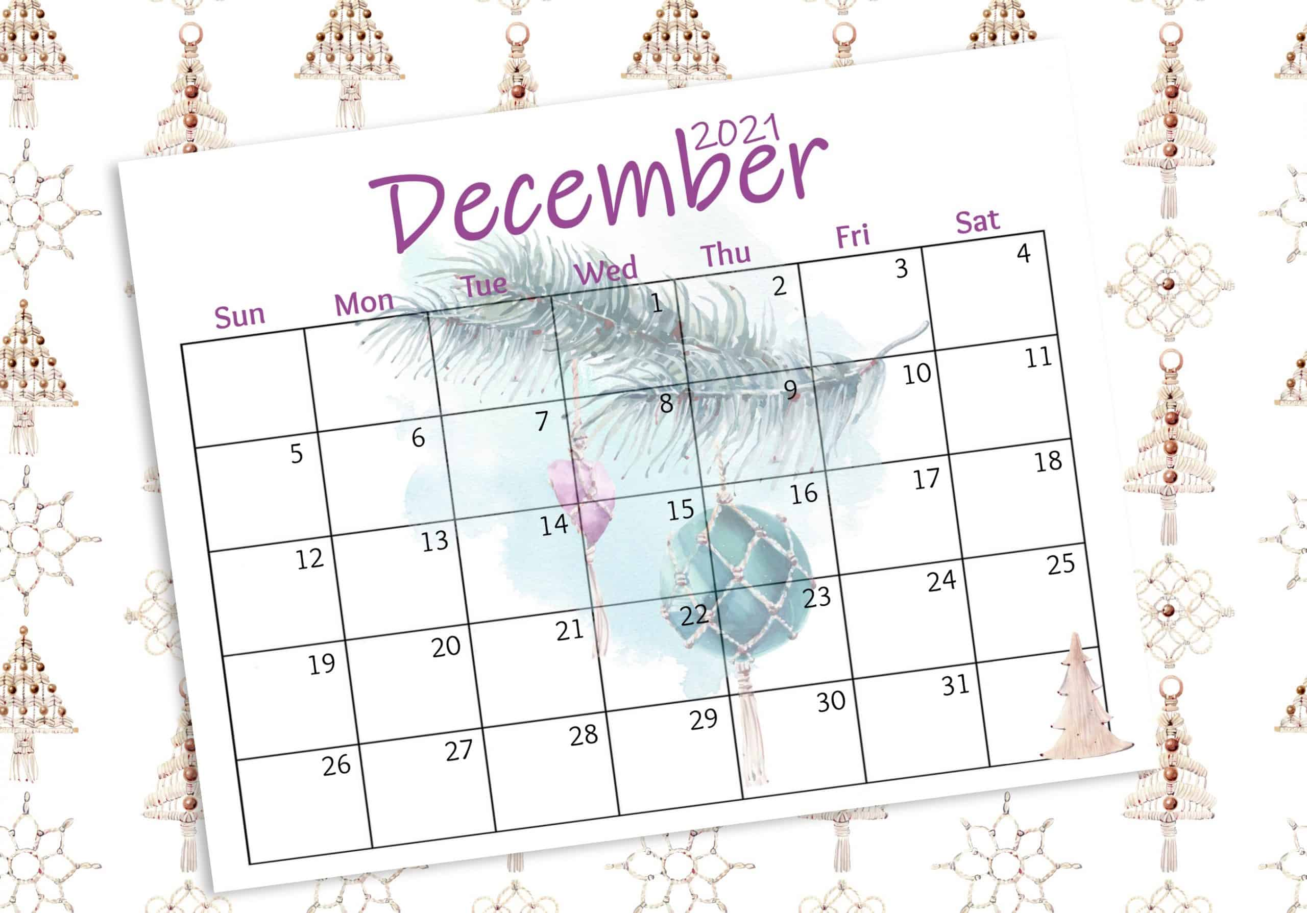 ree 2021 watercolor wall calendar december with ornament graphics and pine branches