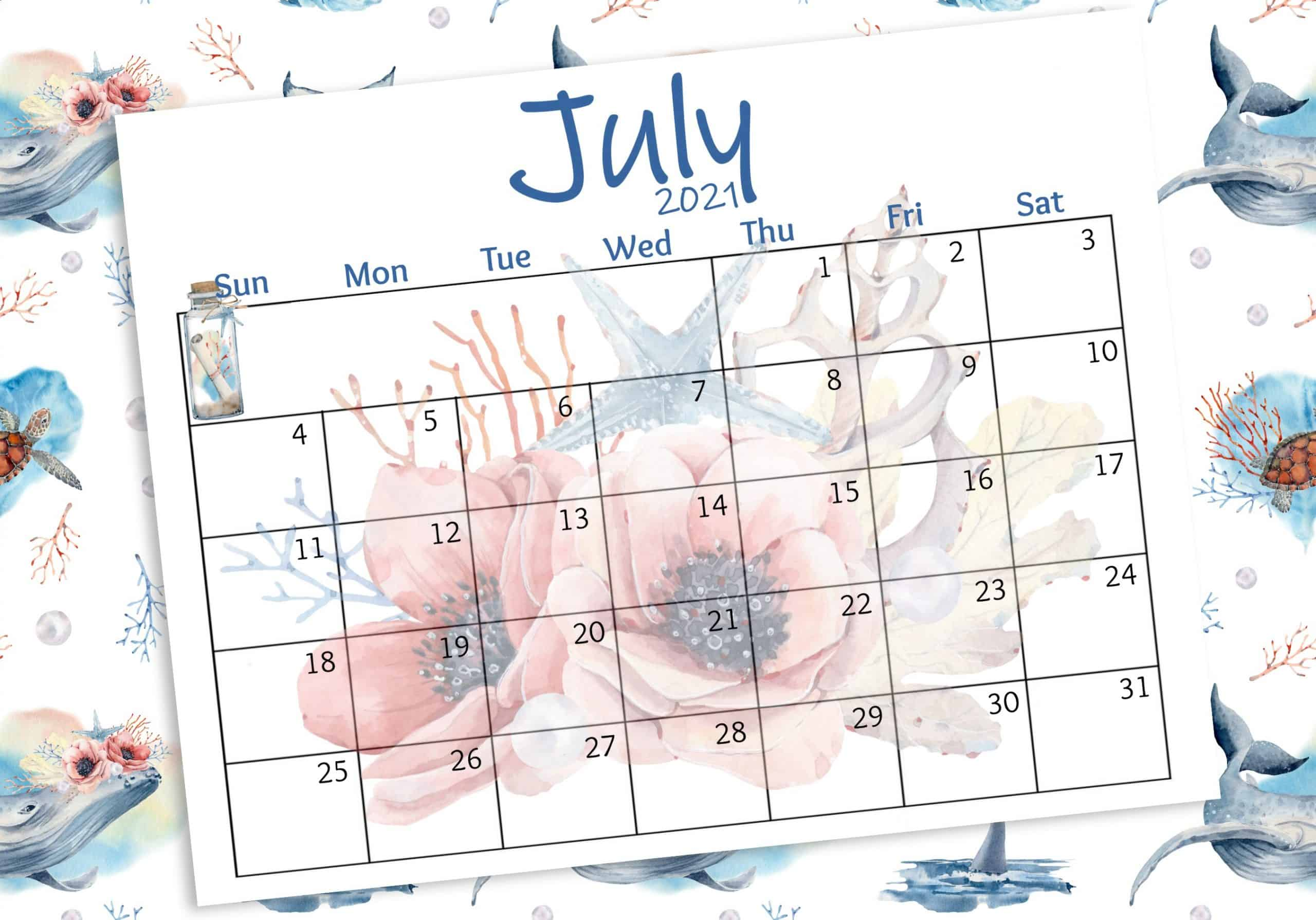 watercolor calendar for july with flowers and sea elements