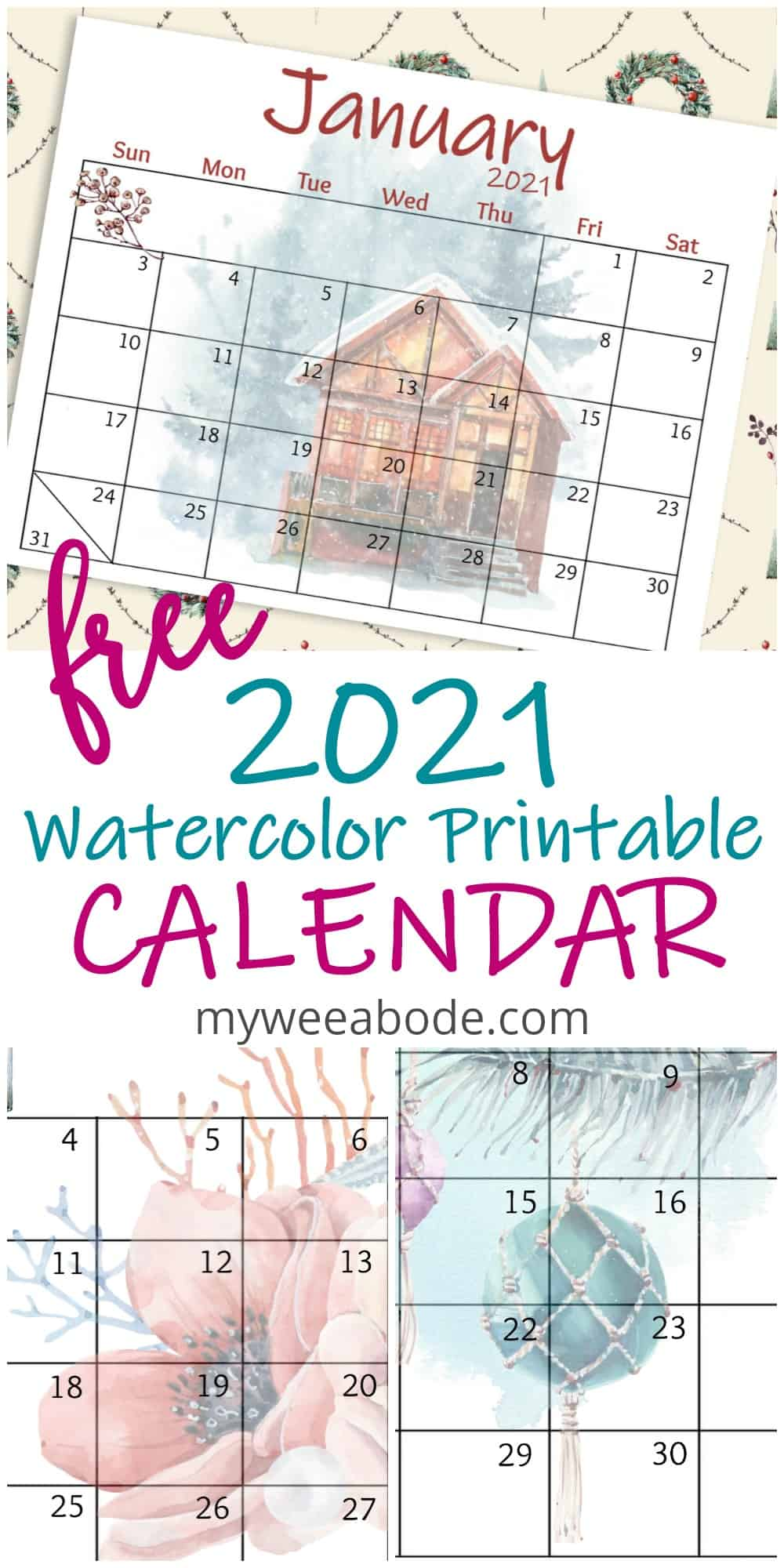 free 2021 watercolor wall calendar January with cozy winter home graphics