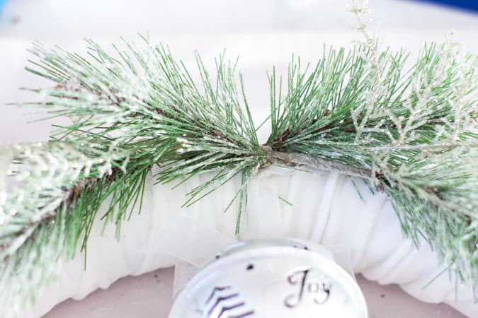 frosty velvet christmas wreath with greenery