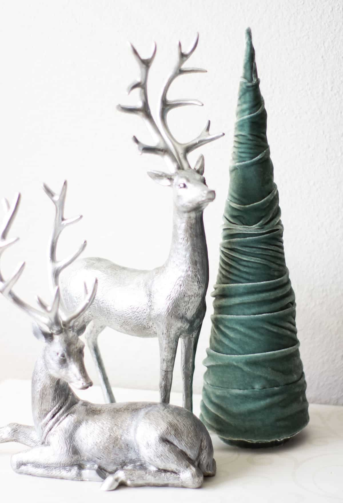 frosty minty christmas trees silver feindeer with green velvet tree