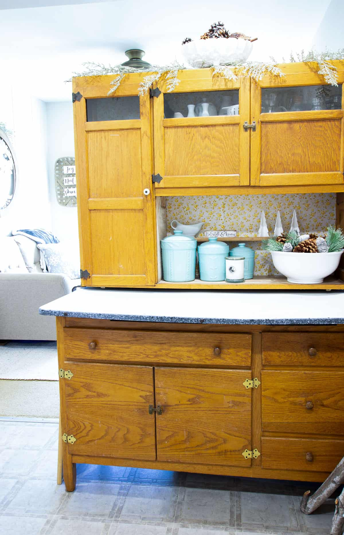 frosty christmas tiny home tour bakers cabinet with christmas decor