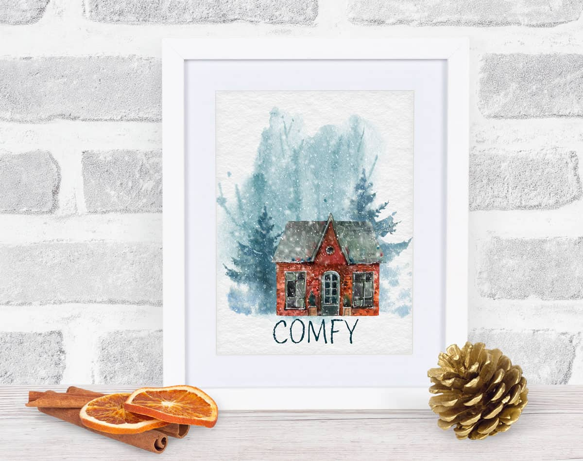free watercolor winter printables collage of all three house prints