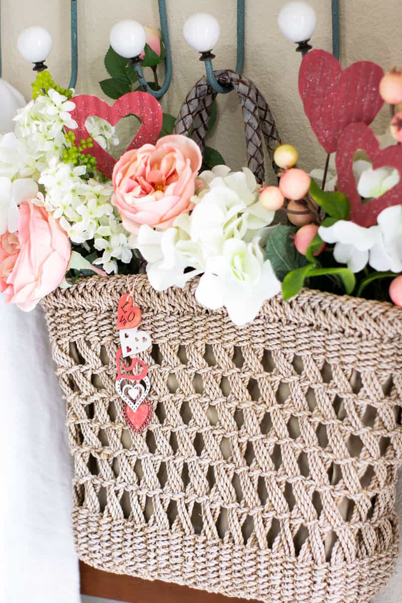 woven tote with faux florals and hearts