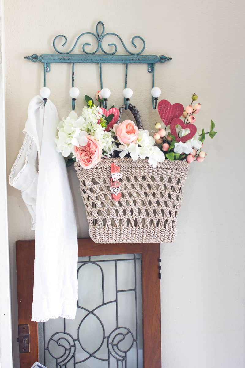 valentine door tote pinterest challenge supplies for creating a tote with flowers hanging on coat rack