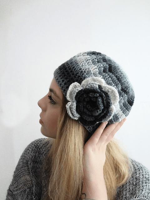 tuesday turn about winter diy projects crocheted hat in black white gray