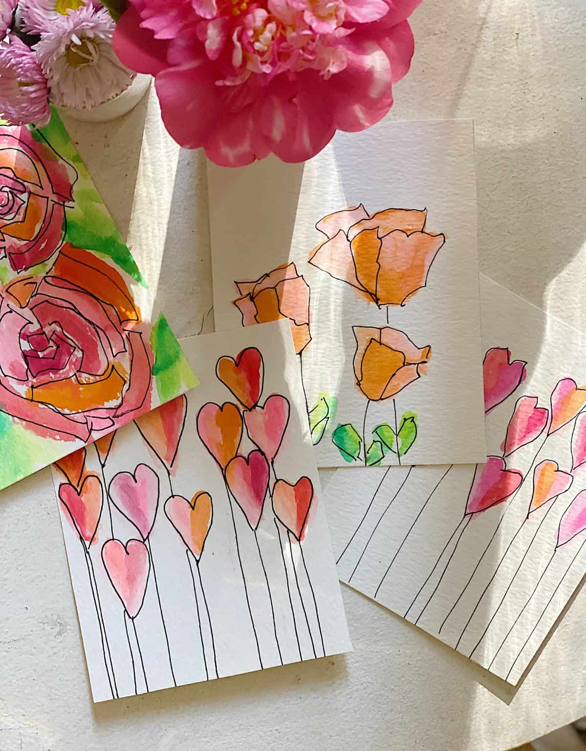 watercolor cards with flowers and hearts