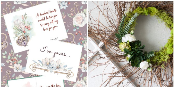 tuesday turn about 87 collage with succulent wreath and printable valentine cards