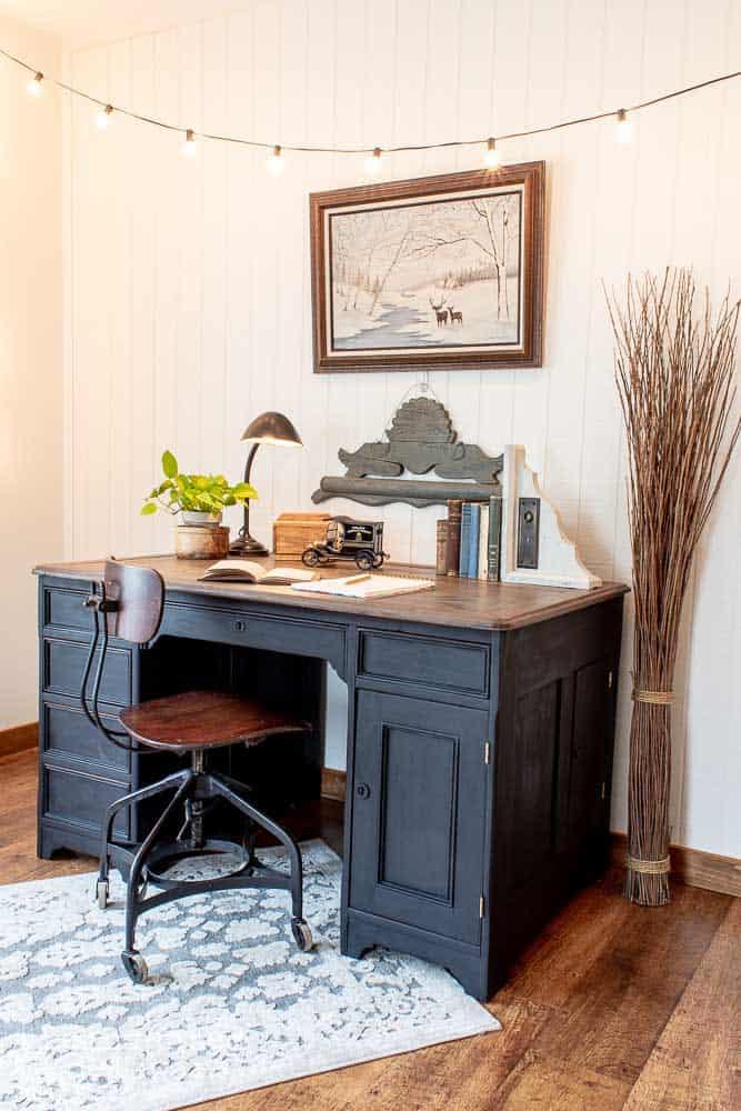 black desk with vintage elements