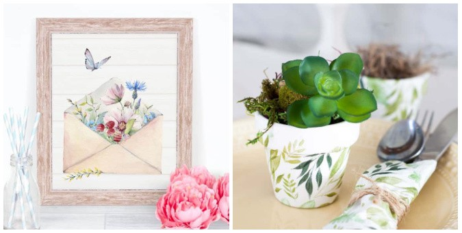 tuesday turn about 88 spring begins printable with flowers and floral pot with succulent on plate