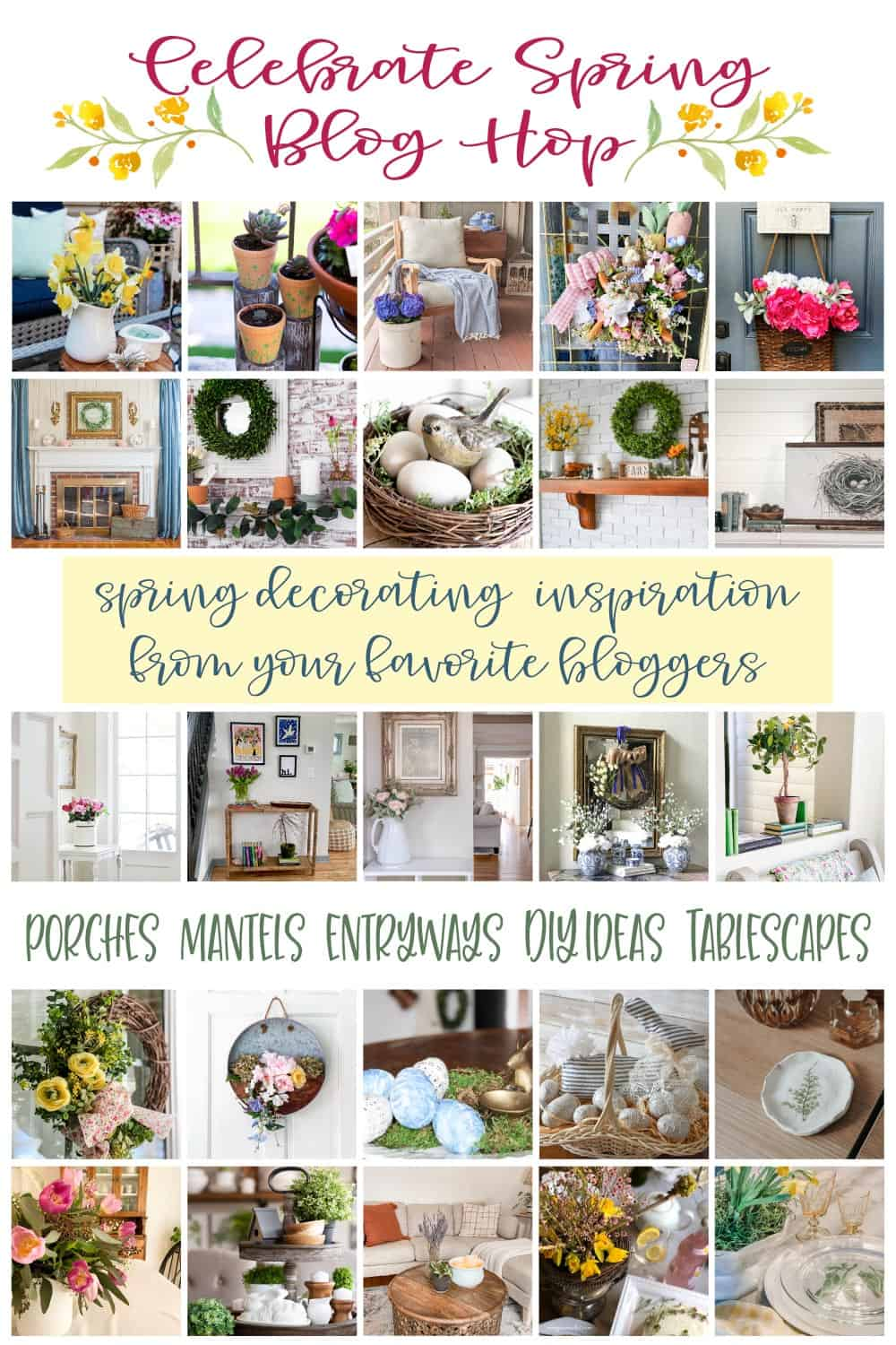 small spring porch collage of spring projects and celebrate spring blog hop banner