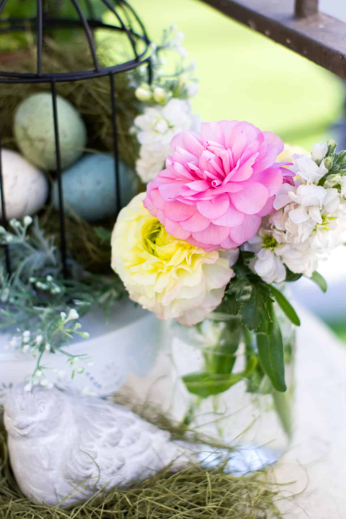 spring bird cage pinterest challenge mason jar with fresh flowers and eggs in background