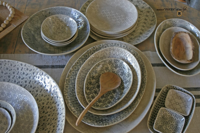 dishware with a wooden spoon