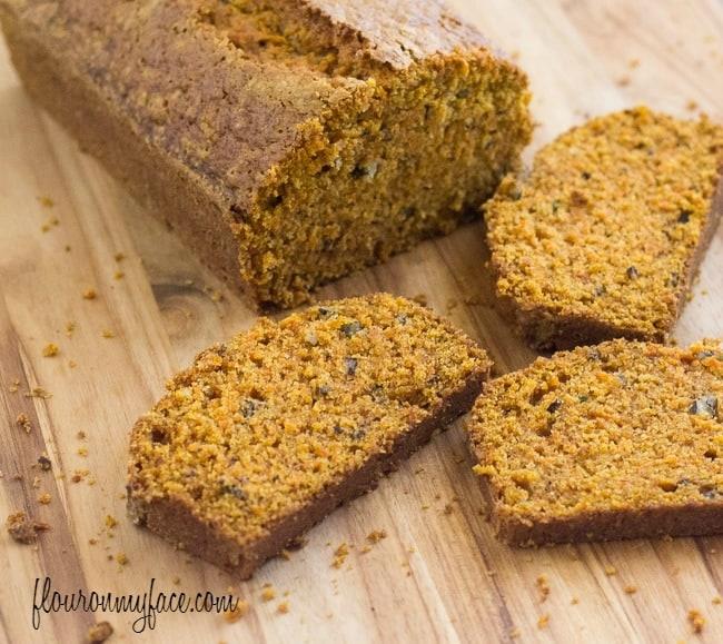 carrot bread on bread board